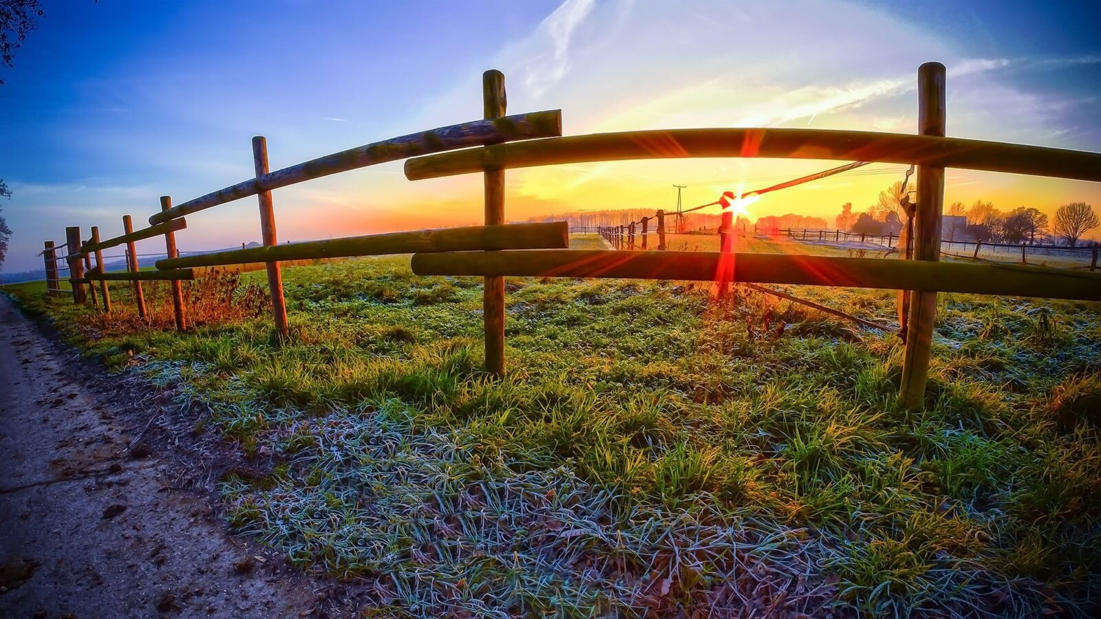 morning fences rural landscape HD pic for PC