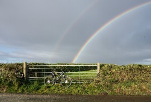 rainbow bicycle rural landscape free download