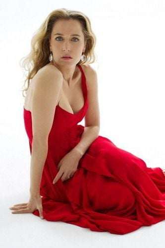 red dress Gillian Anderson background