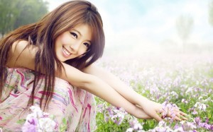 smile Asian girl background