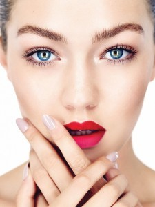 photo of Gigi Hadid face makeup lips eyes nails