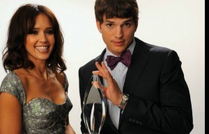 Wallpaper of Jessica Alba and Ashton Kutcher for iPad