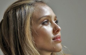 Jessica Alba in profile background