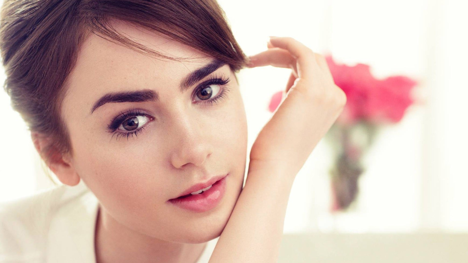 Lily Collins face wallpaper pictures