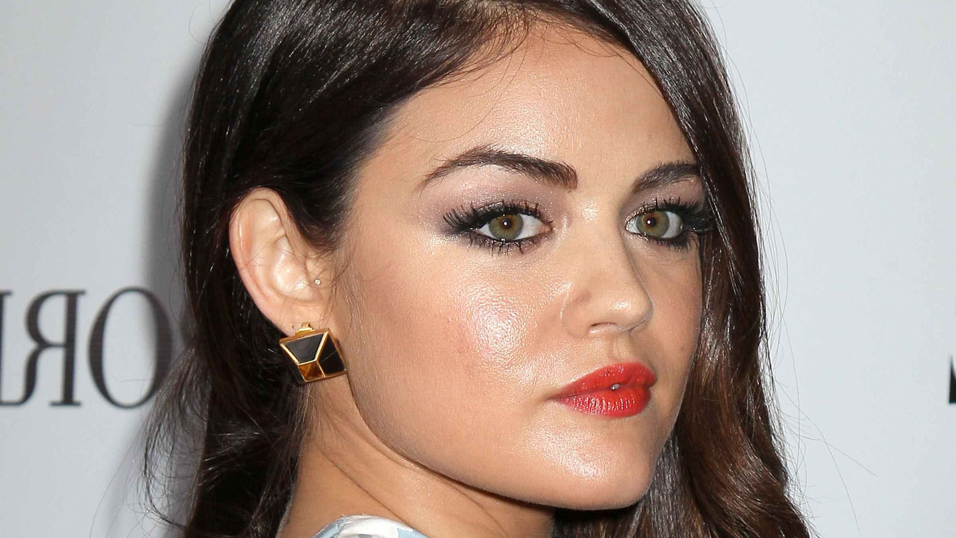 Cool Lucy Hale face makeup lips eyes photo