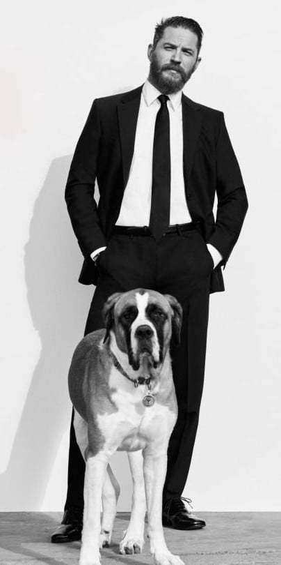 Wallpaper of Tom Hardy with dog for iPhone