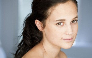 Wallpaper of cute Alicia Vikander for iPad