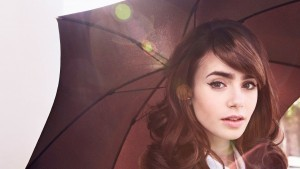 Lily Collins umbrella background