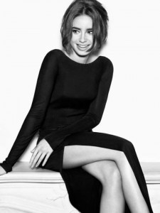 Lily Collins bw vertical wallpaper