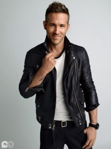 style Ryan Reynolds leather jacket background
