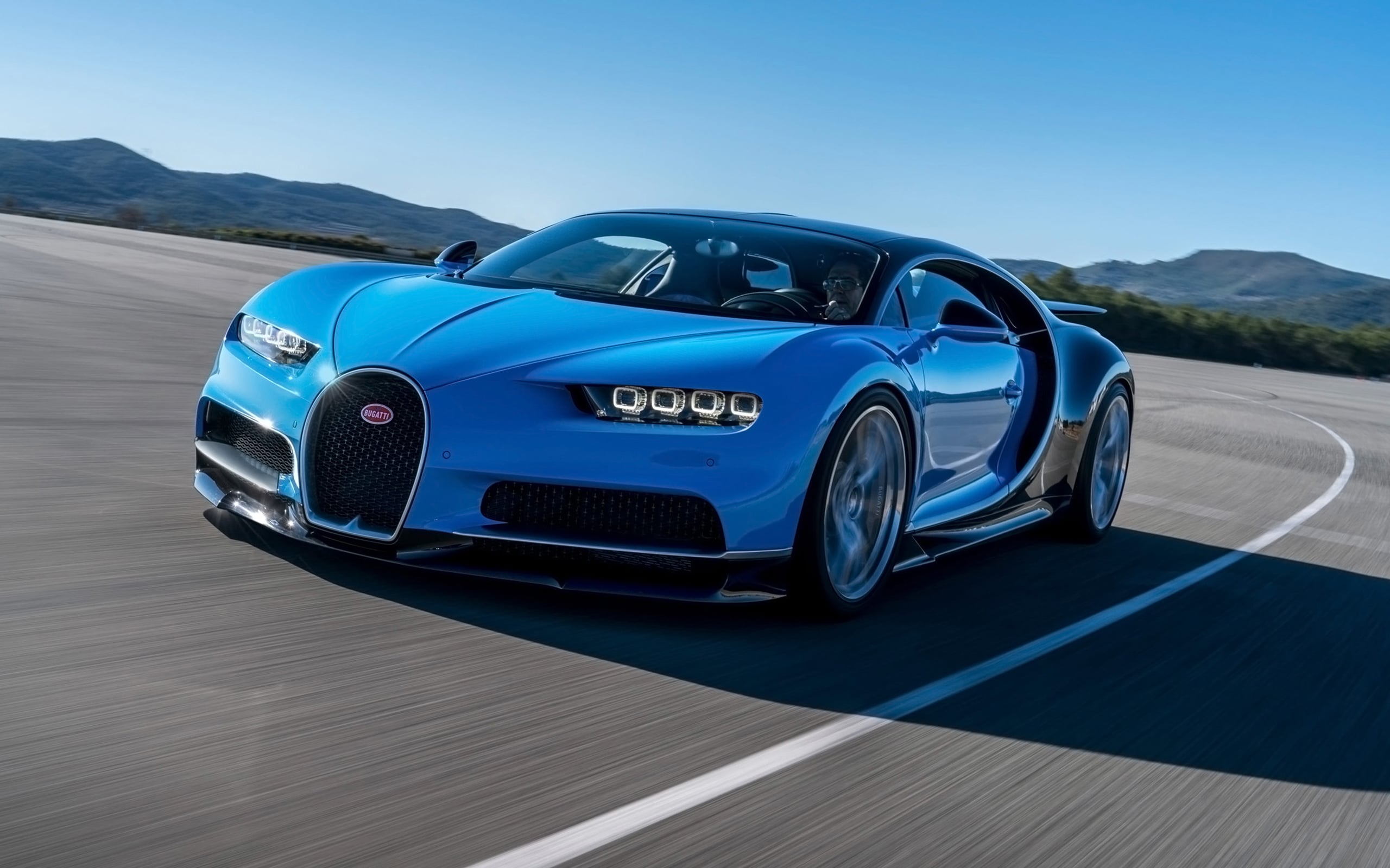2017 Bugatti Chiron blue 4k wallpaper download