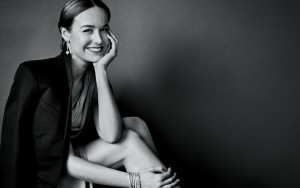 Brie Larson wallpapers HQ smile black and white