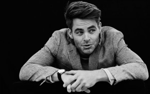 Chris Pine black and white background 1080p wallpaper