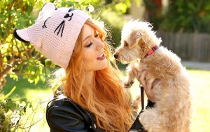 Katherine Mcnamara with puppy High Definition wallpaper