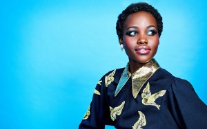 Lupita Nyong'o blue background Wallpapers High Quality