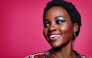 Lupita Nyong'o red background HD image