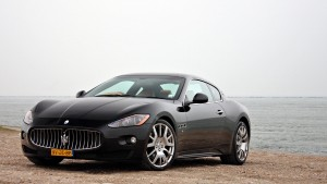 Maserati Granturismo black outdoor Desktop Wallpaper Widescreen