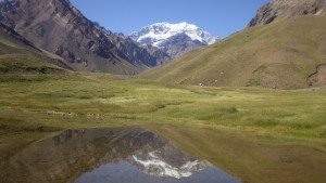 Mount Aconcagua summer lake photo