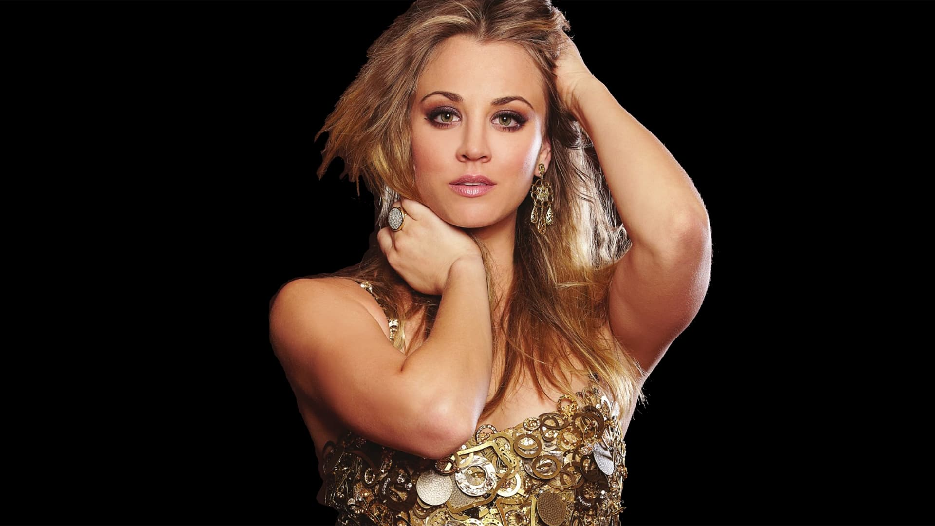 Kaley Cuoco black background High Resolution wallpaper