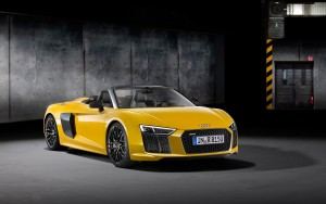 yellow 2017 Audi R8 Spyder V10 High Definition wallpaper