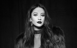 Shay Mitchell black and white HD image