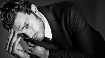 black and white Jamie Dornan Background