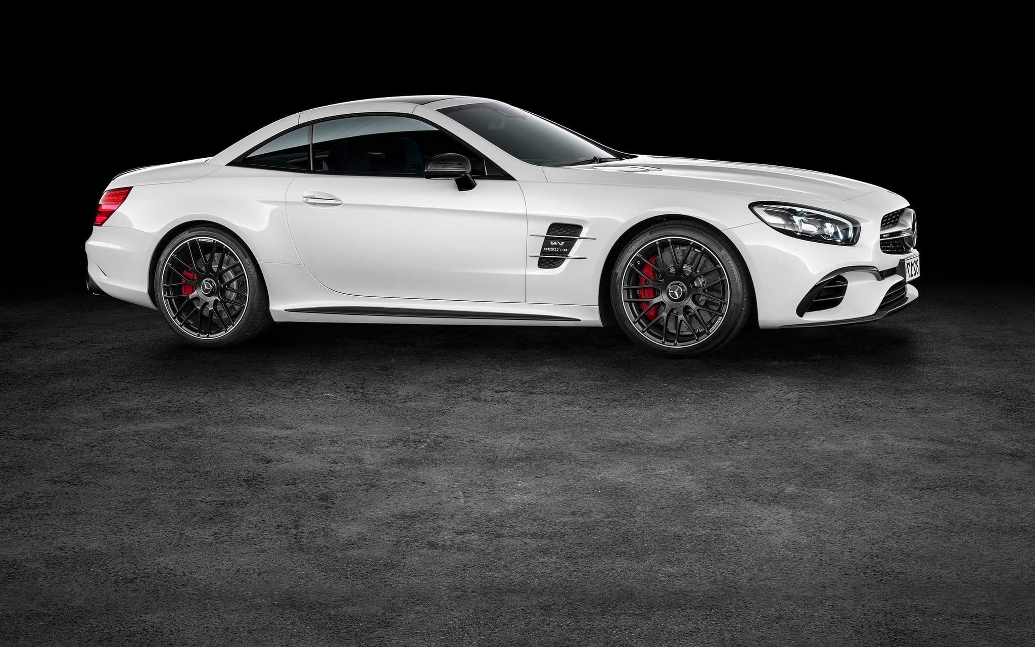 white 2016 Mercedes AMG SL63 black background