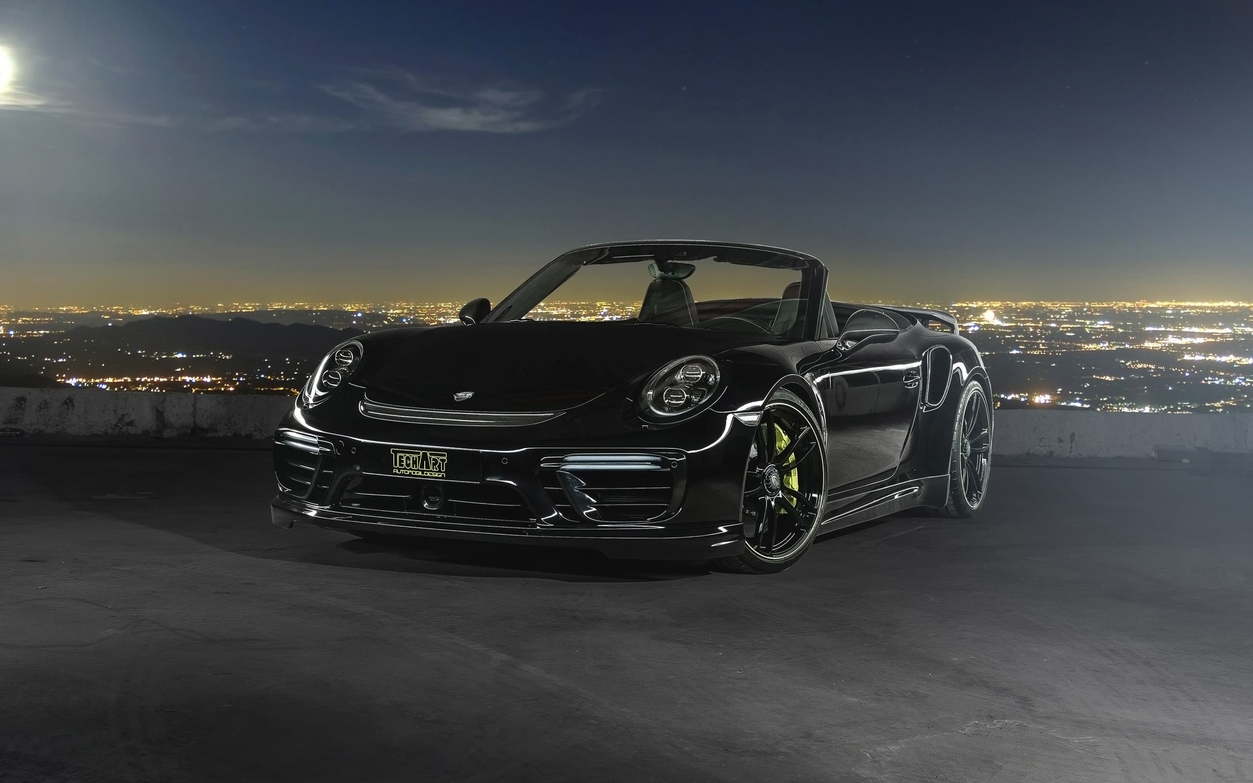 black 2016 Porsche 911 Cabriolet Techart Wallpapers HD
