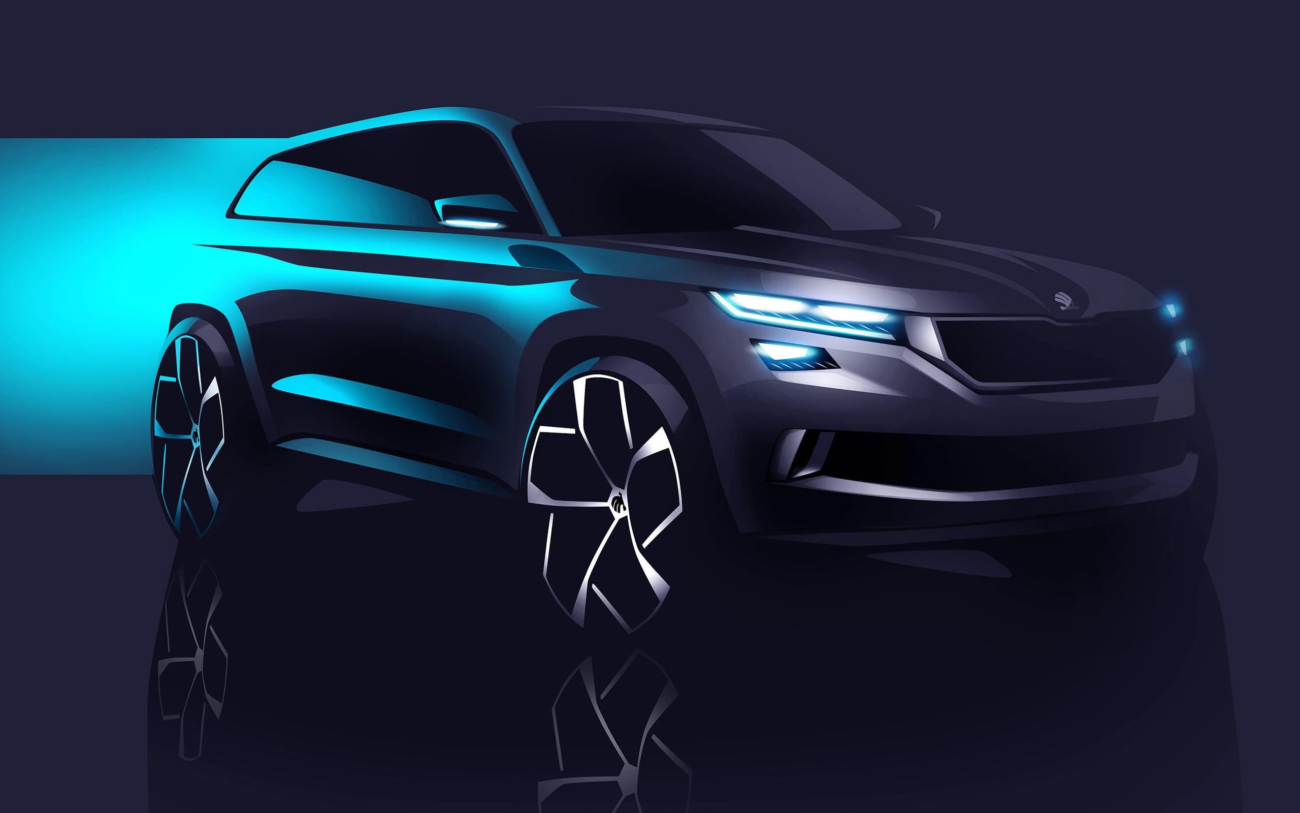 2016 Skoda Vision S Concept Headlight Wallpaper HD Blue