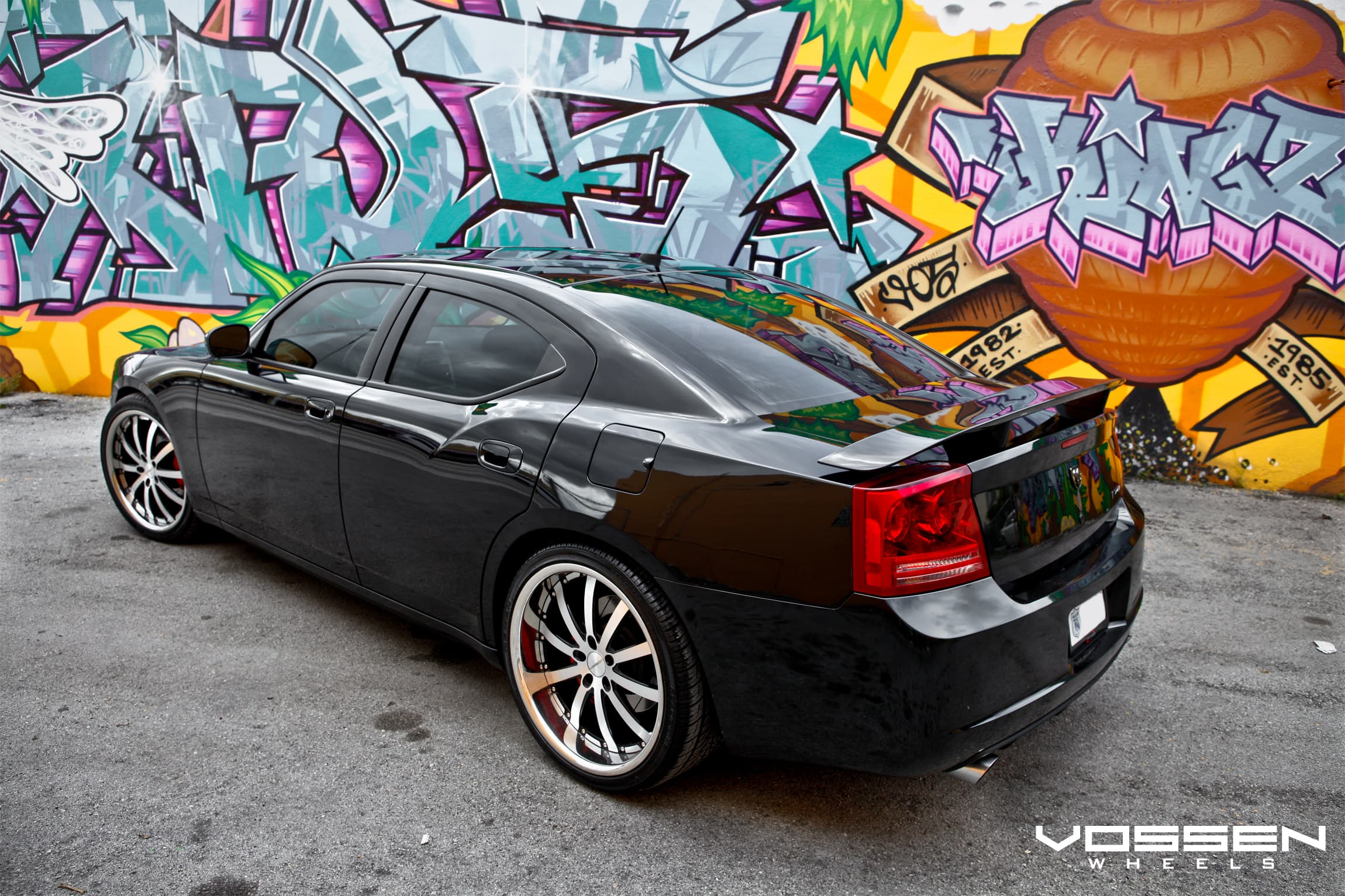 Dodge Charger Wallpapers Hd Black Vossen Wheels Graffiti