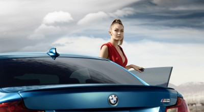 HD Gigi Hadid BMW M2 Coupe wallpapers High Quality Rear bumper