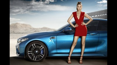 Gigi Hadidi Red Dress BMW M2 Coupe High Quality wallpaper