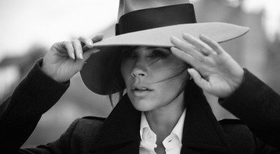 bw wallpaper of Victoria Beckham in a hat