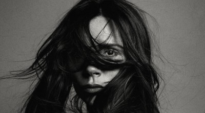 wallpaper of Victoria Beckham eye, bw