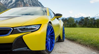 BMW i8 2016 blue wheels High Resolution wallpapers