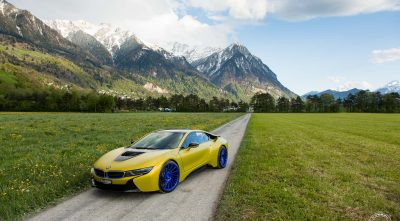 BMW i8 2016 mountains widescreen wallpaper