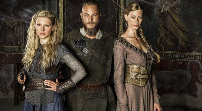 Vikings - Katheryn Winnick As Lagertha, Ragnar Lothbrok and princess Aslaug