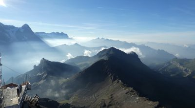 Switzerland, Bernese Alps - Mountain Schilthorn, morning fog