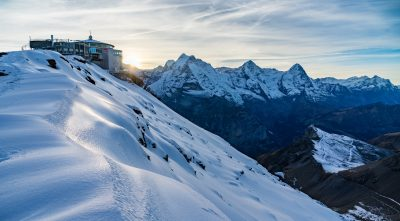 Switzerland, Bernese Alps - Mountain Schilthorn at sunset