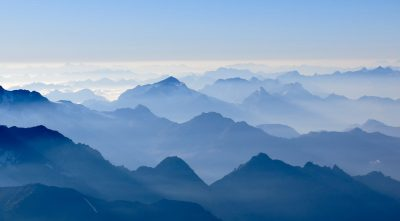 Switzerland, - mountain Weisshorn, morning fog