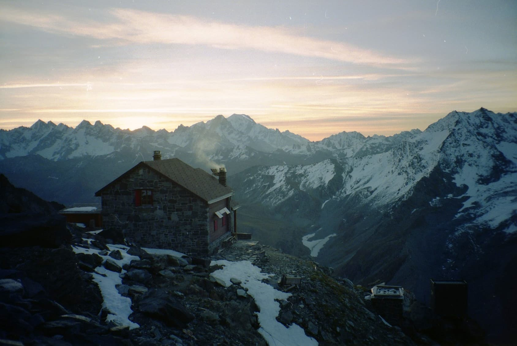 Mountain - Grand Combin house in mountain at sunset