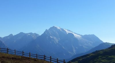 Italy - mountain Marmolada, blue sky