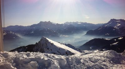 Switzerland, Bernese Alps - Mountain Schilthorn, sun rays
