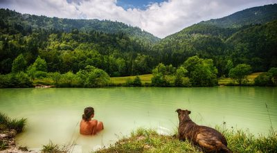 Mountain - Triglav, dog and girl in lake