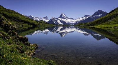 lake, mountain Eiger