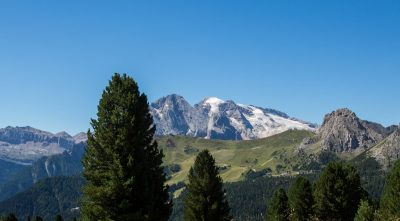 Italy - mountain Marmolada, view from the forest