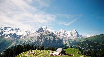 Switzerland - Mountain Jungfrau, single house near of the mountain