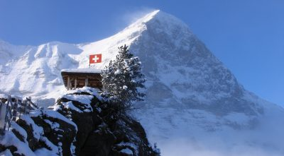 in winter, mountain Eiger