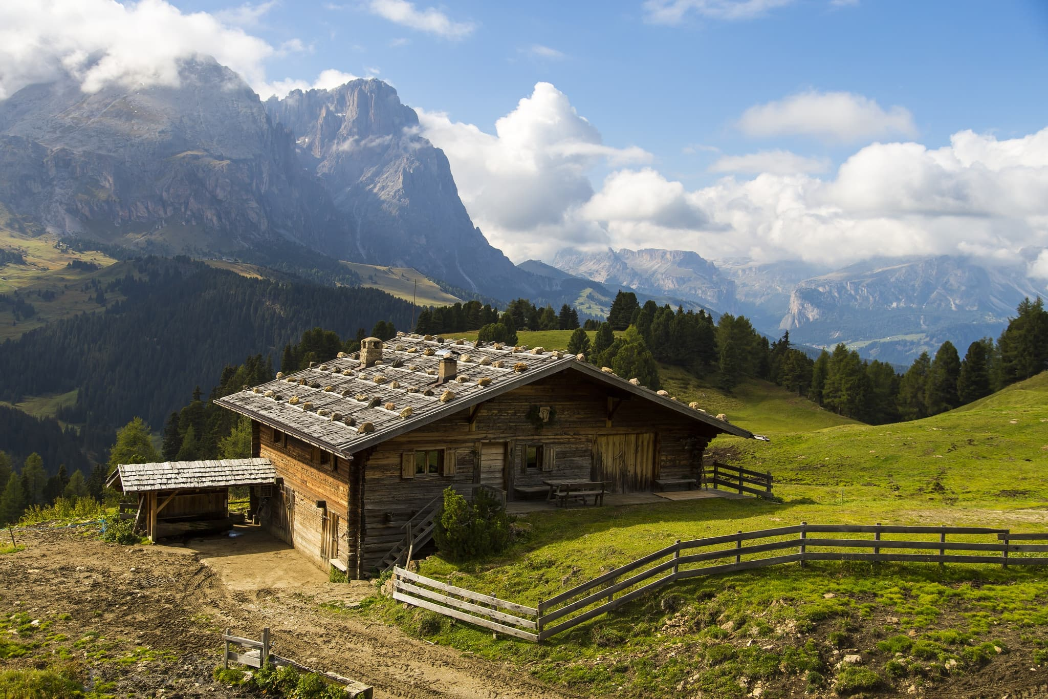 mountain Schlern - Alps, Italy, rural house