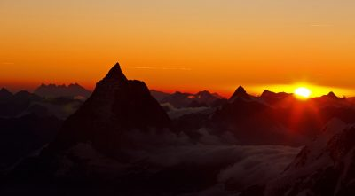 Switzerland, - mountain Dent Blanche beautiful sunrise